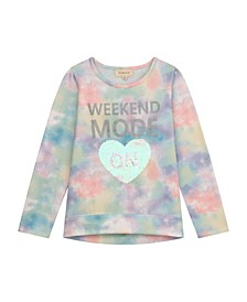 "Big Girl Brushed Fleece Top with ""Weekend Mode"" and Flip Sequins Heart"