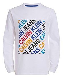 Big Boys Multi Box Long Sleeve Crew Neck T-shirt