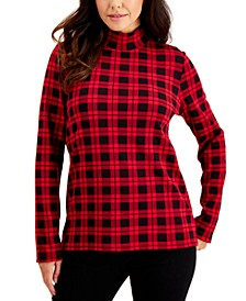 Plaid Mock-Neck Top, Created for Macy's