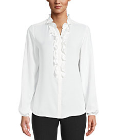 Bar III Ruffled Blouse, Created for Macy's