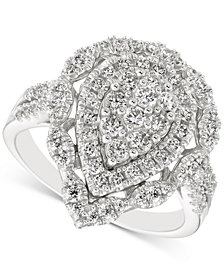 Diamond Teardrop Cluster Ring (1 ct. t.w.) in 14k White Gold
