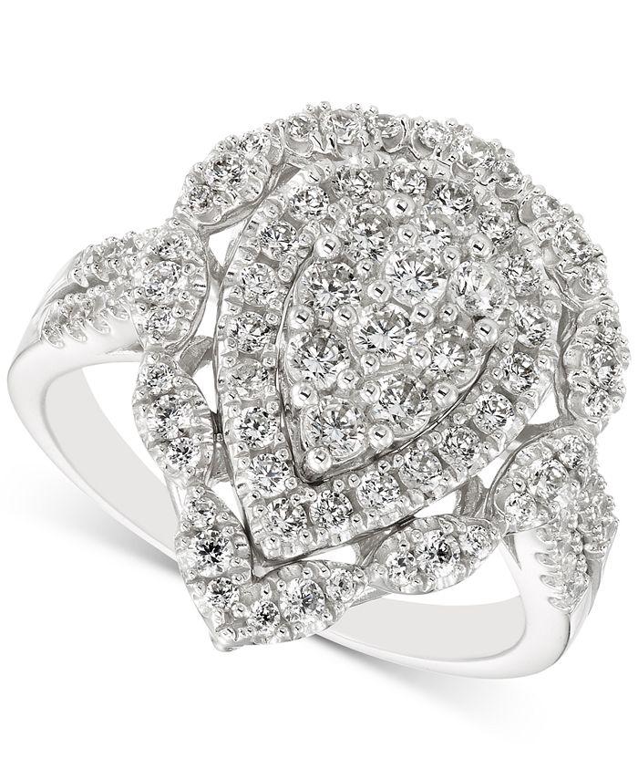 Macy's - Diamond Teardrop Cluster Ring (1 ct. t.w.) in 14k Gold