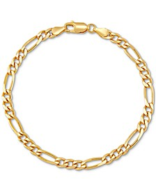 Figaro Link Chain Bracelet in 18k Gold-Plated Sterling Silver, Created for Macy's