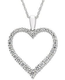 "Diamond Open Heart 18"" Pendant Necklace (1/2 ct. t.w.) in 14k White Gold"