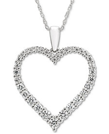 "Diamond Open Heart 18"" Pendant Necklace (1/2 ct. t.w.) in 14k White Gold"