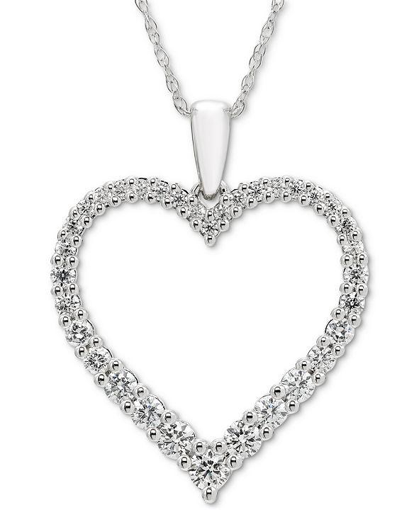 "Macy's Diamond Open Heart 18"" Pendant Necklace (1/2 ct. t.w.) in 14k White Gold"