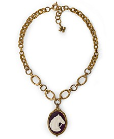 "Gold-Tone Horse Cameo Pendant Necklace, 18"" + 2"" extender"