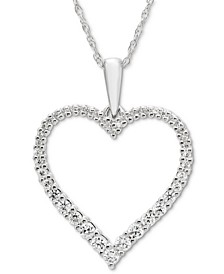 "Diamond Open Heart 18"" Pendant Necklace (1/4 ct. t.w.) in 14k White Gold"
