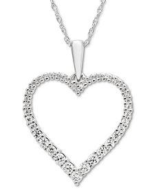 "Diamond Open Heart 18"" Pendant Necklace (1/4 ct. t.w.) in 14k White Gold"