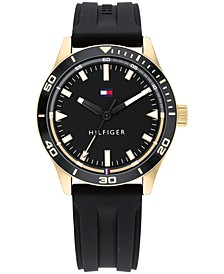 Men's Black Silicone Strap Watch 44mm, Created For Macy's