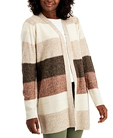 Plus Size Colorblocked Open-Front Cardigan, Created for Macy's