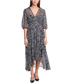 Paisley-Print Chiffon Maxi Dress