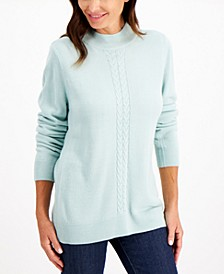 Mock-Neck Cable-Trim Sweater, Created for Macy's