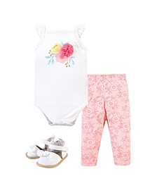 Baby Boys and Girls Flowers Bodysuit, Pant and Shoe Set, Pack of 3