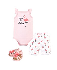Baby Boys and Girls Flamingo Bodysuit, Pant and Shoe Set, Pack of 3