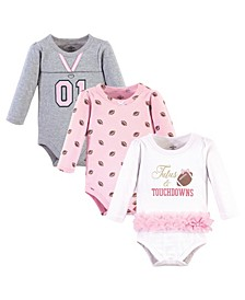 Baby Girls Tutus Touchdowns Bodysuits, Pack of 3