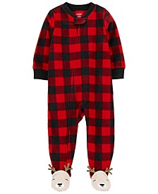 Baby Boy or Girl 1-Piece Buffalo Check Fleece Footie PJs