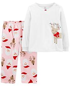 Toddler Girls 2-Piece Reindeer Christmas Fleece Pajamas