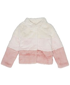 Little Girls Colorblock Coney Faux Fur Full Zip Jacket