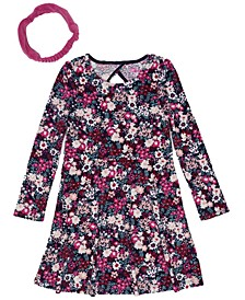 Little Girls Long Sleeve All Over Floral Print Velour Dress with Headwrap