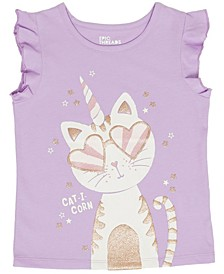 Toddler Girls Short Sleeve Kitty Graphic Mix and Match Tee