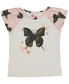 Little Girls Short Sleeve Camo Butterfly Graphic Mix and Match Tee