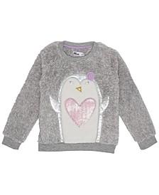 Little Girls Penguin Graphic Minky Sweatshirt