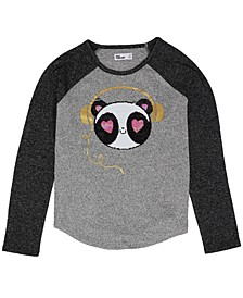 Big Girls Long Sleeve Flip Sequin Graphic Knit Top