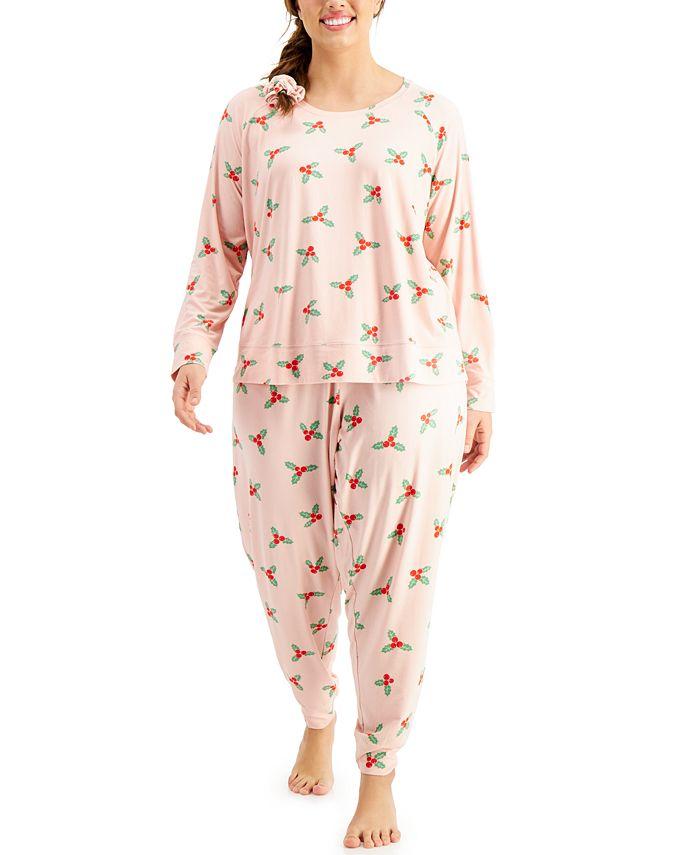 Jenni - Plus Size Printed Srunchie & Pajamas Set