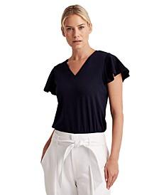 Cotton Flutter-Sleeve Top
