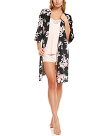 Velour Robe, Cami & Short 3pc Pajama Travel Set