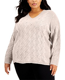 Plus Size Chain-Stitch Sweater
