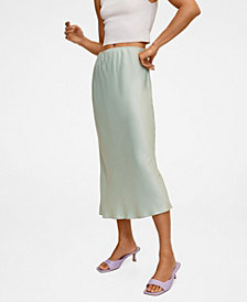 MANGO Women's Midi Satin Skirt