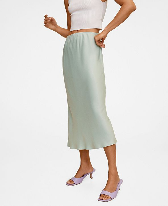 MANGO Women's Midi Satin Skirt
