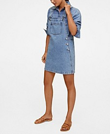 Women's Pocket Denim Pinafore Dress
