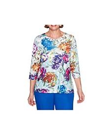 Women's Misses Watercolour Floral Top