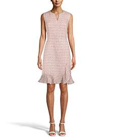 Anne Klein Tweed Ruffle-Hem Sheath Dress