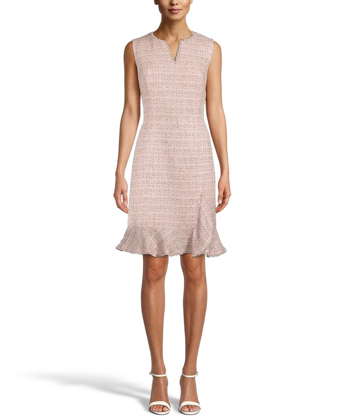 Anne Klein - Tweed Ruffle-Hem Sheath Dress
