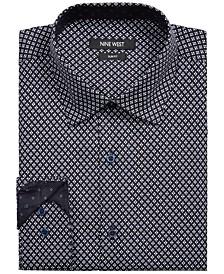 Men's Slim-Fit Performance Stretch Diamond Reticle-Print Dress Shirt