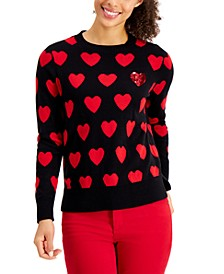 Petite Heart-Print Sweater, Created for Macy's