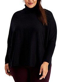 Plus Size Drop-Shoulder Turtleneck Sweater, Created for Macy's