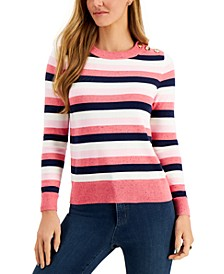 Petite Striped Button-Detail Sweater, Created for Macy's