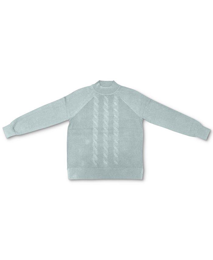Karen Scott - Plus Size Cable-Knit Mock Neck Cotton Sweater
