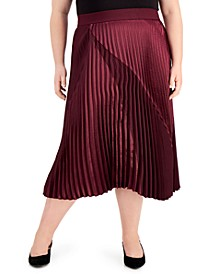 Plus Size Mixed-Media Pleated Midi Skirt, Created for Macy's