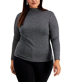 Plus Size Metallic Striped Turtleneck Top, Created for Macy's