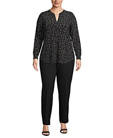 Plus Size Dot-Print Split-Neck Top