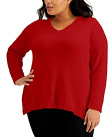 Plus Chenille V-Neck Sweater, Created for Macy's