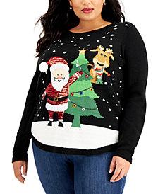 Karen Scott Plus Size Embellished Santa Sweater, Created for Macy's