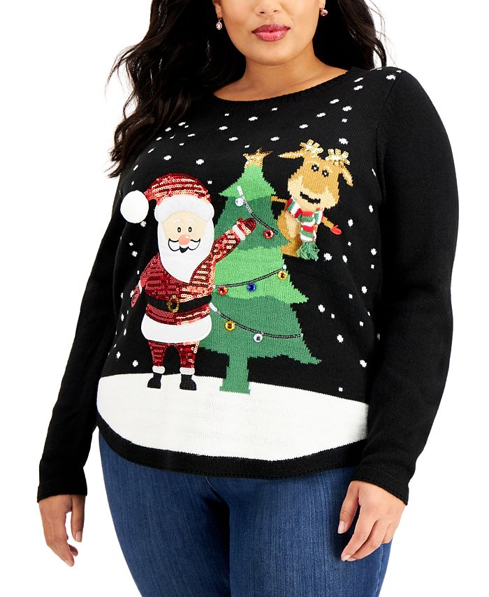 Karen Scott - Plus Size Embellished Santa Sweater