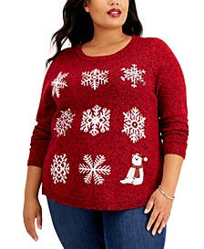 Plus Size Knit Snowflake Sweater, Created for Macy's
